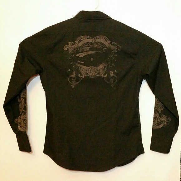 BC Ethic Other - BC Ethic L/S Pearl Snap Button Shirt Studded Roses